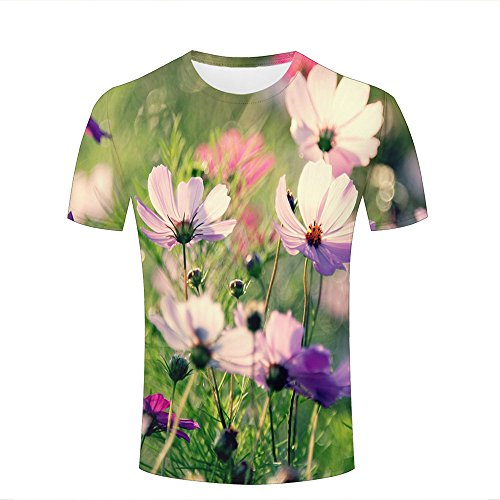 ouzhouxijia Mens 3D Printed T-Shirts Field Of Cosmos Flowers Graphics Couple Tees A