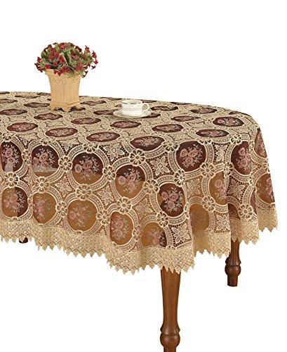 Vintage Elegante Beige Spitze Tischdecke Leinen bestickt Blume Burgund transluzent Gaze Kunden bestellen, Leinen, beige, 60*120 Inch Oval -