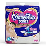 #1: MamyPoko Pants Extra Absorb Diaper - Large Size, Pack of 62 Diapers (L-62)