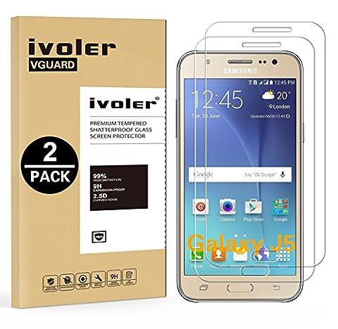 [Lot de 2] Samsung Galaxy J5 2015 Protection écran, iVoler [0.30 mm Dureté 9H] Film Protection d'écran en Verre Trempé Glass Screen Protector Vitre Tempered pour Samsung Galaxy J5 2015 - Dureté 9H, Ultra-mince 0.30 mm, 2.5D Bords Arrondis- Anti-rayure, Anti-traces de Doigts,Haute-réponse, Haute transparence- Garantie de Remplacement de 18