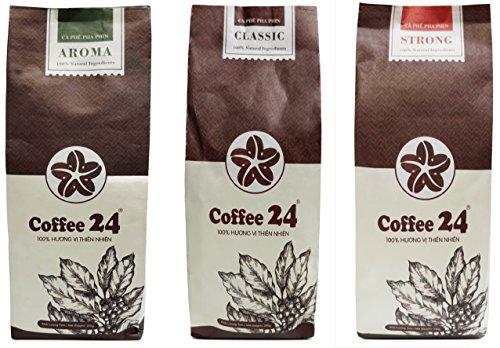 Sonderangebot 3 x 250g Vietnamesischer Kaffee Coffee24 - Organischer Anbau - Drei verschiedene Sorten - Hochwertige Kaffeebohnen - Kaffee Vietnam