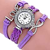 Fittingran Womens Watches cinturino orologi donna orologi femminili in vendita orologio in pelle (Viola)
