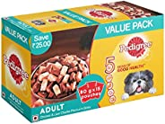 Pedigree Adult Wet Dog Food, Chicken & Liver Chunks in Gravy, 15 Pouches (15 x