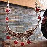 MTWTM Keramik Schmuck Halskette Pullover Kette Retro Frauen Schmuck Mode Feder- Fringer Perlen Simple Persönlichkeit Kreativ National Wind