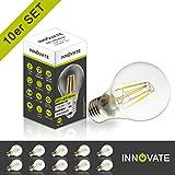[ 10er Pack / Set ] INNOVATE E27 LED Filament Glühfaden Lampe Birne Leuchtmittel / 7W - ersetzt 50-60W Glühlampe, Glas, warmweiss - 2700K, 700 Lumen, 360° Abstrahlwinkel