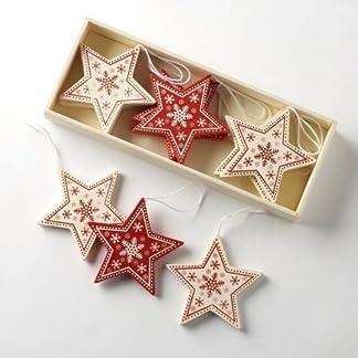 Caja de 12Tradicional Estilo Vintage rojo/crema formas estrella de madera para árbol de Navidad