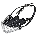 #2: W9 High Quality Steel and PU Dogs Muzzle Basket Design Anti-Biting Adjusting Straps Mask for Large Dog