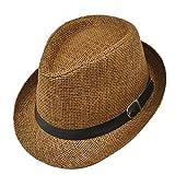 Leisial Anti-UV Panama Cappello Stile inglese due colori cappello di paglia primavera estate Cappello da spiaggia per il tempo libero unisex
