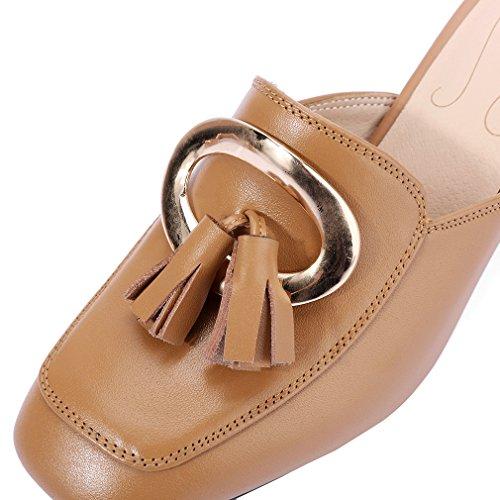 ENMAYER Frauen Slip-on Med Fersen Schuhe für Frauen Spitz Zehen-Quadrat Fersen Outdoor Casual Mule Schuhe Khaki