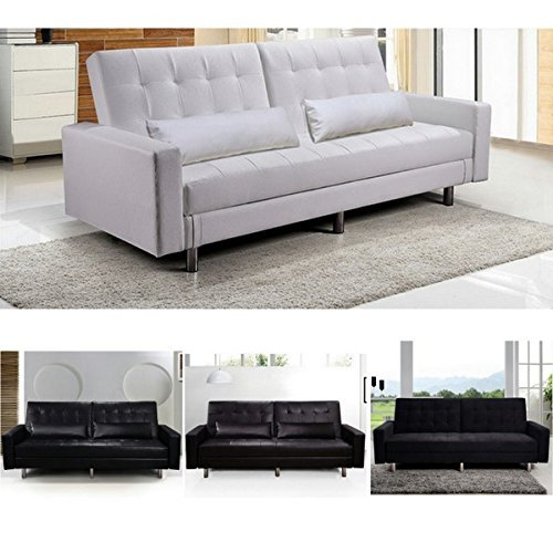 Bagno italia divano letto con vano contenitore bianco nero marrone ecopelle o microfibra modello iris