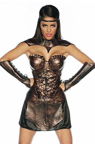Corsage, Rock, 2 Manschetten, Schulterpanzer Gladiator-Kostüm braun/schwarz, Größe Atixo:S
