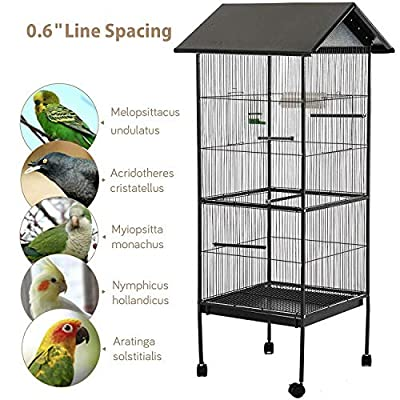 Bird Cage Portable Indoor/Outdoor Metal Bird Cage Aviary Apex Roof Parrot Budgie Canary by Generic