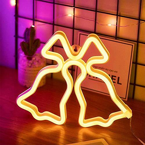 Warm White Christmas Bell-Shaped Neonlicht-Zeichen Niedliches Good Luck Weihnachtsbell-Licht-Batterie und USB-Powered-Wand-Dekor Neon-Nachtlicht für Hochzeit Kinderzimmer-Geburtstags-Party Wohnzimmer -