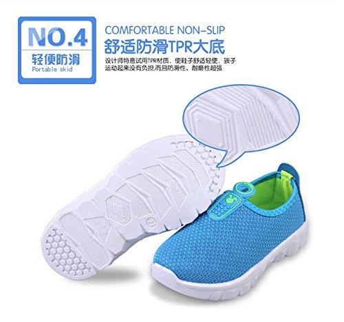 Gaorui Enfant Fille Garcon Chaussures de sport Tennis Course Enfiler En Maille Respirant Bleu