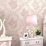 Modernes Extra dicker Vlies europäischen Moderne 3D-Tapete Rolle für Wohnzimmer Schlafzimmer TV Hintergrund Wand 0,53m (52,8cm) * 10Mio. (32,8') M = 5.3sqm (M³), Only the wallpaper, 50402 pale pink