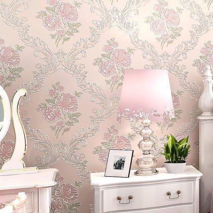*Modernes Extra dicker Vlies europäischen Moderne 3D-Tapete Rolle für Wohnzimmer Schlafzimmer TV Hintergrund Wand 0,53m (52,8cm) * 10Mio. (32,8') M = 5.3sqm (M³), Only the wallpaper, 50402 pale pink*