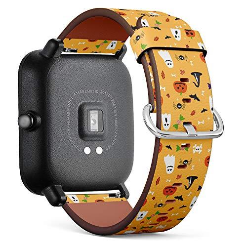 Huami Amazfit Bip - Leder-Armband Uhrenarmband Ersatzarmbänder mit Schnellverschluss (Halloween-Postkarte) ()
