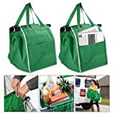 2 Pack Shopping Trolley Bags Eco Friendly Clip On Grocery Carrier Easily Folds Strong Durable Reusable Easy Clean Handy Side Pocket