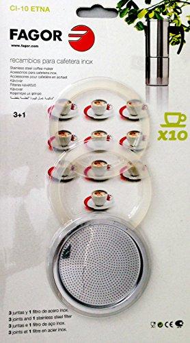 Fagor - Recambio Cafetera Ci10, 3 Juntas, 1 Filtro, Para Mod. Etna10