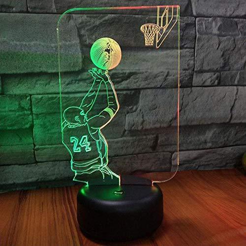 Einen Korb schießen Illusion-Nachtlicht 3D, LED-Tisch-Schreibtischlampe, 7 Farben USB-Lade, die Schlafzimmer-Dekoration für Kinder Weihnachten Halloween-Geburtstagsgeschenk beleuchten (Für Halloween-körbe Freund)