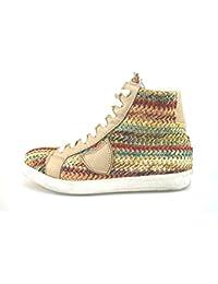 Scarpe donna CROWN sneakers multicolor tessuto pelle AG226 zooode beige Pelle