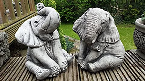ELEPHANTS PAIR - HAND CAST STONE GARDEN ORNAMENT / STATUE