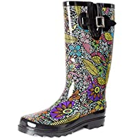 SheSole Womens Ladies Festival Wellies Rubber Rain Wellington Boots Waterproof Floral Printed