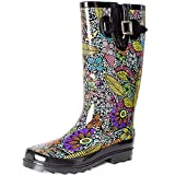 SheSole Womens Ladies Wellies Rain Wellington Boots Waterproof Rubber Festival Black Floral Size