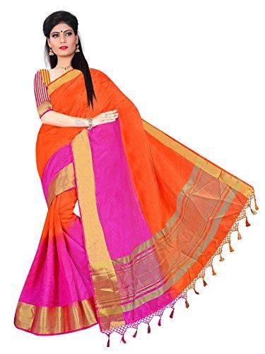 Zaki Women's Raw Silk Saree(1017_orange / pink_FreeSize)
