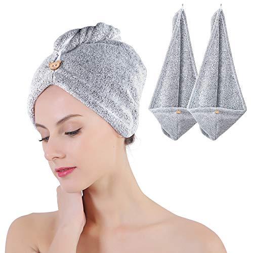 DIAOCARE Handtuch Haare,2 Stück Turban Haartrockentuch Mit Knopf Bambus Kohlefaser Handtuch Haare Turban Für Alle Haartypen(Grau & Pink)