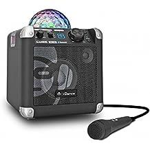 iDance BC10 - Altavoces portátiles (50 W, con Bluetooth, reproducción dual incluido, AUX-In, 2 x micrófonos incluidos), negro