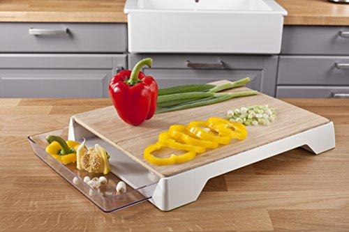 Tomorrow's Kitchen 4685260 - Tabla de cortar de bambú con cajón recogedor, color blanco