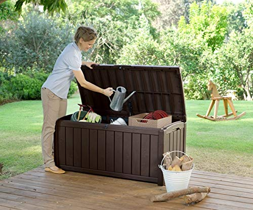 The Glenwood Outdoor Plastic Storage Box is a 390 litre capacity that is ideal for keeping all your contents dry and well ventilated when they are not in use.