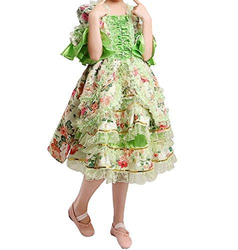 Nuoqi Mädchen Vintage Victorian Kleid Palast mittelalterliche Kleider Cosplay Kostüm Satin Gothic ausgefallene Maskerade Kleid (Height:130cm, (Kostüm Antoinette Marie Kleid)