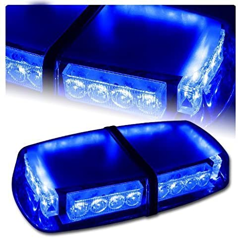 T Tocas (tm) 24 LED Strobe Beacon emergenza Mini bar con base magnetica per auto Rimorchio Caravan SUV marina del crogiolo tetto di sicurezza (blu)