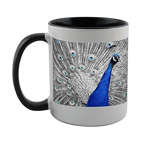 Mug with black coat inside of Peacock, Animal, Bird, Feather, Vanity