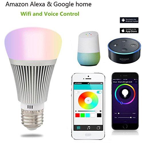 ED Glühbirne,7W Dimmbar Mehrfarbig RGB LED Birne E27 Lampe ändern Stimmung Licht Arbeit mit Smartphone,Tablet, Amazon Echo Alexa,Steuerbar via App (E27 7W) (Halloween-farbe Durch Zugabe)
