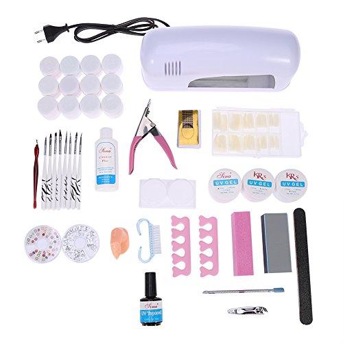 DIY UV Gel Nagel Kunst Dekoration Sets, 9 Watt Lampe Trockner Nagellack Puffer Pinsel UV Gel Falsche Nagel Maniküre Werkzeug
