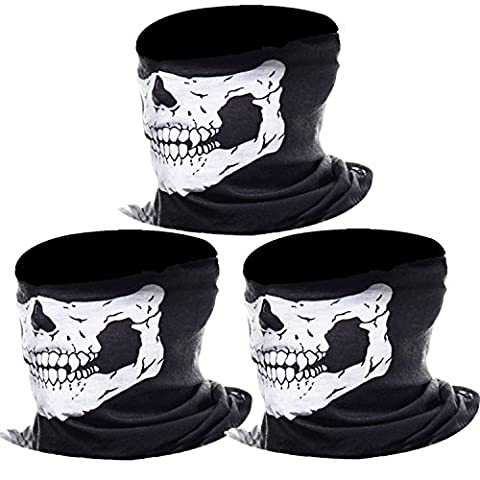 eBoot 3 Pack Seamless Skull Face Tube Mask Motorcycle Face Mask Outdoor Mask Sport Headwear Outdoor Mask Sport Headwear (White)