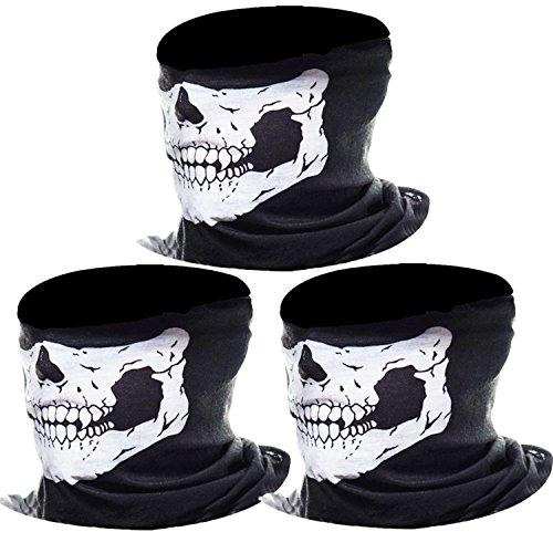 3 Stück Nahtlos Schädel Gesicht Schlauch Maske Motorrad Gesichtsmaske (Weiß) (Winter Bandana)