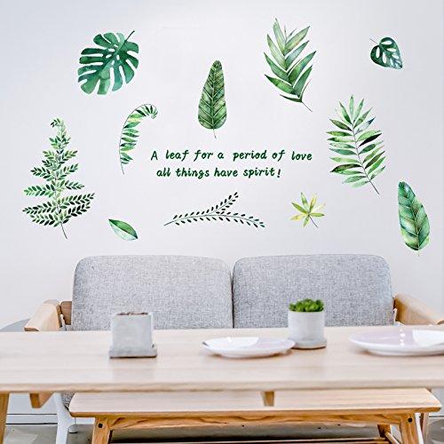 Ein grünes Blatt Wall Sticker Ideen Mädchen Schlafzimmer Wanddekorationen und gemütlichen Zimmer sind kleine, frische Tapete selbstklebende Kunst, grünes Blatt 1, König (Mädchen Schlafzimmer Ideen)