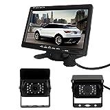 Pathson Monitor LCD TFT de 7 pulgadas + 2 cámaras de marcha atrás Noche resistente al agua 18 Lámparas infrarrojas Kit de vista trasera de 120°color del coche