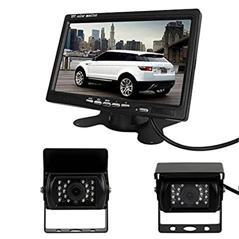 Pathson Car Rear View Kit for Bus Truck 7 inch LCD Monitor + 2* IR Reversing Camera 18 LED