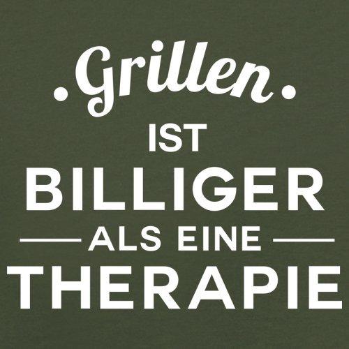 Grillen ist billiger als eine Therapie - Herren T-Shirt - 13 Farben Olivgrün
