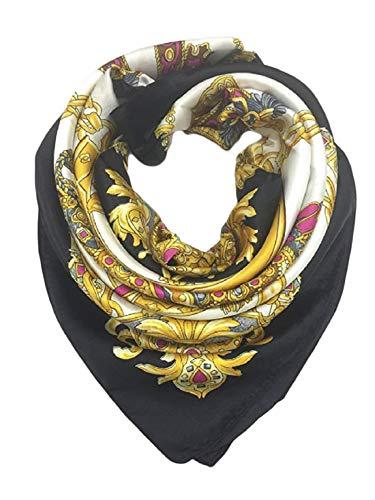 iAmotus Sciarpa di seta SMILE modello femminile ampio foulard a testa di raso quadrato per le donne in autunno (black gold)