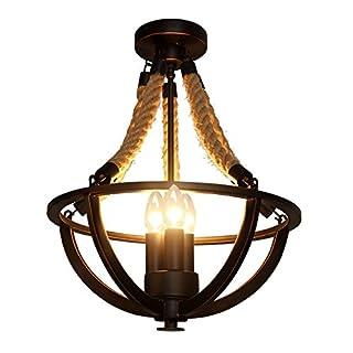 KunMai Rustic Hemp Rope Iron Basket Semi Flush Mount Ceiling Light with 3 Candle Lights