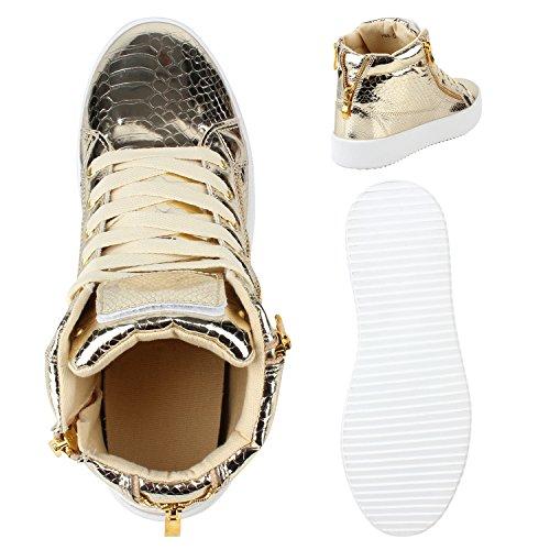 Damen Sneakers High Lack Turnschuhe Zipper Weiße Sohle Gold