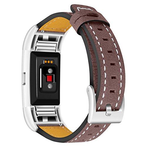 Smart Watch Armband Für Fitbit Charge 2 Ersatz Lederband Watch Gurt Wrist Watch Band Für Männer / Dame (Brown)