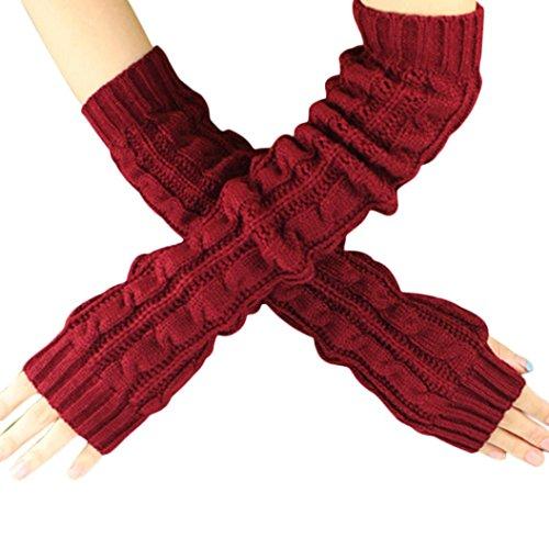 Gants Femme, Koly Hemp Flowers Fingerless Knitted Long Gloves (Rouge)