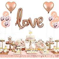 TOPTETN Decoración de San Valentín,Set de Globos, Globos de Oro Rosa Love,